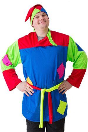 Карнавальный костюм СКОМОРОХ, размер 50-52 1993-бокаКарнавальные костюмы для  взрослых<br>Мужской костюм СКОМОРОХ можно надеть на тематическую вечеринку, детскую сказку или новогодний корпоратив. Окунитесь в прошлое и почувствуйте его атмосферу!<br>Костюм состоит из колпака, косоворотки и пояса.<br> <br>Размер костюма: 50-52<br>Рост: 180 см<br>Материал: трикотаж<br> <br>Производитель: БОКА, Россия<br>