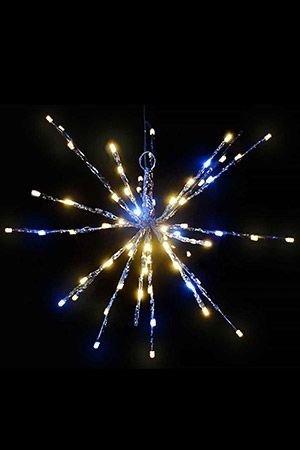 Светящаяся композиция ЁЖИК МЕРЦАЮЩИЙ, 20 лучей, 60 теплых белых и 20 мерцающих холодных белых LED ламп, 40см, SNOWHOUSE TB-40-WW/WПодвесные светящиеся украшения<br>Великолепное украшение с колючим названием, но мягким, добрым и сказочным нравом! Этот ёжик обзавёлся замечательными иголками, которым можно придавать различную форму. Он с удовольствием украсит собой любые поверхности, даже праздничный стол. И не обидится, если вы его подвесите на карниз, или под потолок, или на ветку - все ваши дизайнерские фантазии его только обрадуют. Но главное, что на каждой его иголочке живут по 4 чудесных светлячка, освещающих своими весёлыми огоньками вечер!<br> <br>Характеристики:<br>Диаметр - 40 см <br>60 тепло белых и 20 мерцающих холодных белых LED-огней <br>Цвет иголок - серебристый<br>Количество иголок - 20 шт.<br>Количество светодиодов на иголке - 4 шт.<br>Расстояние между светодиодами - 5 см<br>Работает от  сети 220V;<br>Подводящий кабель - 3 м, провод прозрачный PVC;<br>Гидроизолировано IP 44. Подходит для использования в помещении и на улице.<br> <br>Производитель: SNOWHOUSE, Россия<br>Производство размещено в Китае<br>