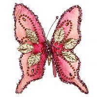 БАБОЧКА-МЕЧТА на клипсе, розовая, 18 см, Katherine's Collection 1018181Все Бабочки-Стрекозы<br>Чудесная новогодняя Бабочка с роскошным декором на трепетных крыльях так похожа на розовую мечту, которая вот-вот вспорхнёт и улетит в те прекрасные края, где все мечты сбываются в своё и наше удовольствие!<br> <br>Размер - 18 см<br>Материал - искусственный шёлк<br>Цвет - розовый, золотой<br> <br>Производитель - Katherine's Collection, США<br>Производство размещено в Китае<br>