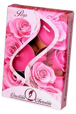 Набор ароматических свечей РОЗА, 3.8х1.6 см (упаковка 6 шт.), Россия 001826-свечаСвечи ароматические<br>Нежный и потрясающе чувственный аромат розы для романтичного настроения с нотками кокетливой изысканности.<br> <br>Диаметр - 3.8 см<br>Высота - 1.6 см<br>Материал - парафин<br>Время горения - 3.5 часа<br>Набор - 6 свечей<br> <br>Производство - Омский Свечной, Россия<br>