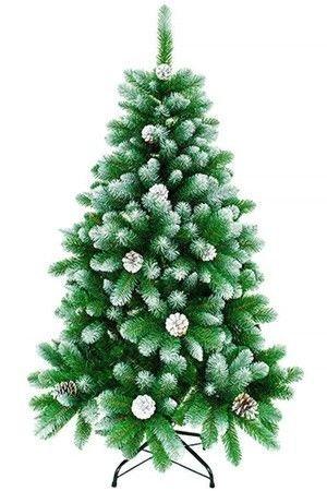 Искусственная ель ТРИУМФАЛЬНАЯ заснеженная с шишками, хвоя PVC, 150 см, CRYSTAL TREES KP8615CRYSTAL TREES, Россия, Тайланд<br>Пушистые лапы этой великолепной ели, созданной вручную,  изумительно и очень интересно прокрашены - у основания они радуют глаз насыщенно-зелёным цветом свежей хвои, их кончики снежно-белые, а переход между этими тонами настолько плавный, что создается ощущение какой-то удивительной нежности! Благодаря этому цветовому переливу ёлочка кажется ещё более объёмной и, как будто, слегка светящейся. Дополняют сказочную картину слегка заснеженные, невероятно уютные шишки, придающие облику лесной красавицы особенную душевность. <br>Ель снабжена удобной крестовиной с прорезиненными насадками, не царапающими пол.<br> <br>Высота ели - 150 см<br>Нижний диаметр - 100 см<br>Количество веточек - 450<br>Хвоя - PVC<br>Цвет хвои - зелёный<br>Декор - заснеженная хвоя, натуральные заснеженные шишки<br>Ель разбирается до ветвей, компактна в хранении.<br>Все ветви промаркированы.<br>Подставка металлическая, четырехножная.<br>Упакована в белую коробку из плотного 5-слойного картона<br> <br>На фотографии может быть изображена ель другого размера.<br>Производитель CRYSTAL TREES, Россия<br>
