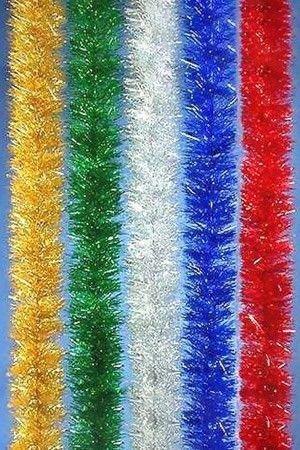 Мишура одноцветная серебряная блестящая 100 мм длина 2 м
