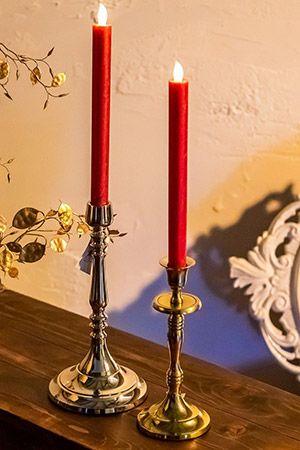 Набор рустикальных восковых свечей ЭЛЕГАНТНАЯ ПАРА, красный, LED-огни, 2х25 см (упаковка 2 шт.), KAEMINGK 482922 Morozko
