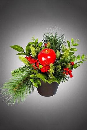 Декоративная композиция ДАРЫ ОСЕНИ в керамическом горшочке, 20 см, NV Trading Co CDA172020Декор в корзинках и кашпо<br>Ранняя, тёплая и душевная осень оставила о себе на память насыщенные, ещё летние цвета листьев и пушисто-уютной хвои, алые грозди ягод и наливное яблочко для вкуса и настроения, украшающих зиму! <br> <br>Размер - 20 см<br>Подставка - керамический горшочек<br> <br>Производитель NVTrading Co, США<br>Производство размещено в Китае<br>