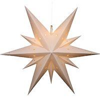 Светильник подвесной РОЖДЕСТВЕНСКАЯ ЗВЕЗДА с LED-огнями, белый, 60 см, Sigro 83-3000Подвесные светящиеся украшения<br>Когда вы зажжёте этот очаровательный светильник, он засияет чудесным светом Рождественской звезды, согревая сердце и наполняя его лучащейся радостью! <br> <br>Диаметр - 60 см<br>Материал - пластик<br>Цвет - белый<br>LED-огни<br>Работает от сети 220V (адаптер в комплекте)<br>Можно использовать и в помещении, и на улице<br> <br>Производитель SIGRO, Германия<br>Производство размещено в Китае<br>
