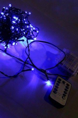 Электрогирлянда  нить ЦВЕТНЫЕ ОГОНЬКИ, 120 синих LED-огней, 12 м, провод черный, контроллер, ПДУ, батарейки, уличная, SNOWHOUSE LD120-GB-BO-RCГирлянды НИТИ (Durawise и др.)<br>Стайку ярких, светодиодных лампочек, напоминающих синие светящиеся звездочки, можно расположить где угодно, ведь эта классическая гирлянда, абсолютно необходимая для создания сказочной и романтичной атмосферы, работает от батареек и, к тому же, включать и выключать её можно с помощью пульта дистанционного управления. Возможна работа по таймеру.<br> <br>Характеристики:<br>Количество лампочек: 120 разноцветных LED ламп;<br>Длина гирлянды - 12 м;<br>Длина подводки: 0,5 м;<br>Тип/Цвет провода: черный PVC;<br>Работает от 3хАА батареек (в комплект не входят);<br>ПДУ (пульт дистанционного уплавления)  работает от батарейки CR2025 (в комплекте);<br>Имеется контроллер, обеспечивающий 8 режимов светодинамики;<br>Гидроизолирована, IP44, возможно использование в помещении и на улице.<br> <br>Производитель: SNOWHOUSE, Россия<br>Производство размещено в Китае<br>