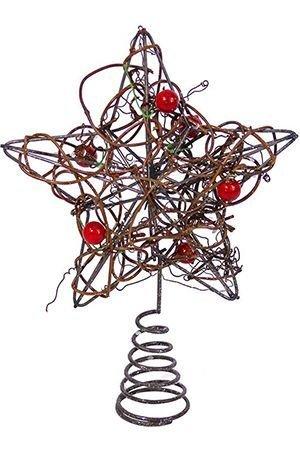Верхушка ёлочная ЗВЕЗДА ПЛЕТЕНАЯ ротанг с бусинами, 15 см, Kurt S. Adler H1246-ротанг-бусиныУкрашения в стиле кантри<br>Звезда плетеная:  Изящная и какая-то потрясающе обаятельная звезда, сплетённая из джутового шнура на металлической основе , выглядит очень уютно, оригинально и по-настоящему волшебно!<br>Звезда со стразами:  Причудливое плетение проволоки, удивительно напоминающей натуральный ротанг, и переливчатая роскошь сверкающих камушков придают этой удивительной звёздочке  особенное очарование, искрящееся добрым новогодним волшебством!<br> <br>Размер - 15 см<br>Материал - металлическая основа, джутовый шнур, металлическая проволока под натуральный ротанг;<br>В ассортименте: звезда джутовая и звезда плетеная с цветными камешками<br>Цена указана за одну верхушку.<br> <br>Производитель - Kurt S. Adler, Голландия<br>Производство размещено в Китае<br>