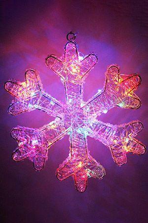 Светящаяся снежинка АЛАНСОН, 30 разноцветных мини LED-огней, 30 см, батарейки, Koopman International AX8106730 Morozko