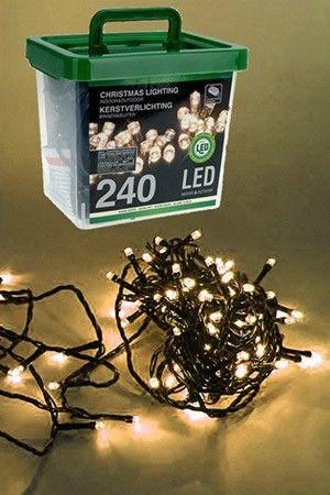 Электрогирлянда НИТЬ 240 теплых белых LED ламп В ПЛАСТИКОВОМ КОНТЕЙНЕРЕ,18м+3м, зеленый провод,  уличная, , Koopman Internationa AX8903020 Morozko