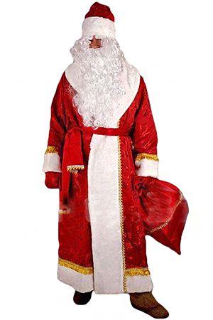 Костюм ДЕДА МОРОЗА, размеры XL, XXL, XXXL Н25-ПН2Все для Деда Мороза<br>Костюм Деда Мороза пошит из набивной портьерной ткани.<br>В комплект входят: кафтан, шапка, варежки, кушак, мешок.<br> <br>В ассортименте размеры: XL, XXL, XXXL<br>