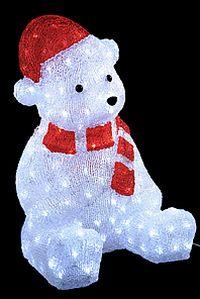 Светящаяся фигура НОВОГОДНИЙ МЕДВЕЖОНОК, акрил, 200 холодных белых LED огней, 57 см, уличный, KAEMINGK 492101Светящиеся фигуры из акрила<br>Любимец публики - полярный медвежонок - каждый зимний вечер сделает сказочным. А уж новогоднюю ночь - просто волшебной! Он очень-очень любит чудеса, веселые игры, удивительные истории и… яркие шапочки! <br> <br>Размеры - 41х35х56 см<br>200 холодных белых LED огней<br>Материал - красный и прозрачный акрил<br>Подводящий провод прозрачный, 5 м<br>Изделие полностью гидроизолировано, может быть использовано как в помещении, так и на улице, IP44<br> <br>Производитель KAEMINGK, Голландия<br>Производство размещено в Китае<br>