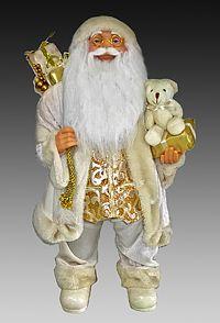 САНТА в белом костюме расшитом золотом, 60 см, Eggl 501-60Санта Клаусы<br>В своем элегантном костюме с жилетом, расшитым золотыми узорами, он напоминает сказочного церемониймейстера. Все новогодние удовольствия под его чутким руководством займут положенные места, все чудеса примут его приглашение и явятся вовремя, а все желания - сбудутся. Как же иначе, ведь он - само совершенство! Этот Санта блестяще организует для вас абсолютно сказочный праздник, который, в свою очередь, создаст великолепный настрой на весь год, <br> <br>Высота - 60 см<br> <br>Производитель - Eggl, ГерманияПроизводство размещено в Китае<br>