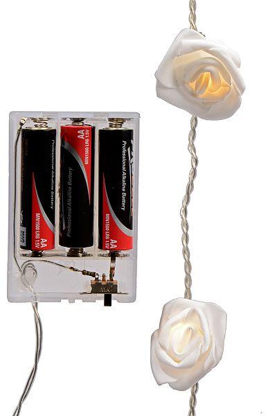 Гирлянда БЕЛЫЕ РОЗОЧКИ, свет тёплый белый, 2.25 м, 16 LED-огней, батарейка, KAEMINGK 482101 - 500 руб - купить в интернет магази